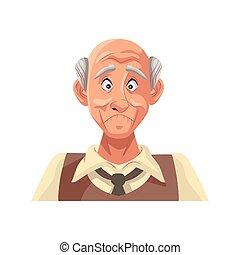 carattere, icona, isolato, vecchio, nonno