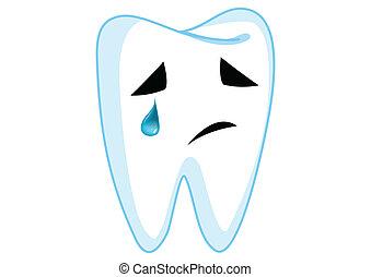 carattere, illustrazione, dente, tristezza, vettore, cartone animato