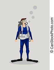 carattere, illustrazione, subacqueo, vettore, cartone animato