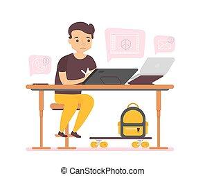 carattere, lavorativo, computer, fondo, uomo, bianco, affari, tavoletta, grafico