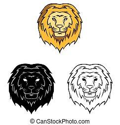 carattere, libro colorante, leone