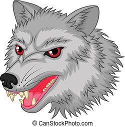 carattere, lupo, cartone animato, arrabbiato
