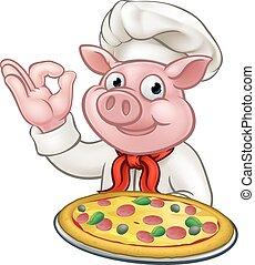 carattere, maiale, chef, pizza, cartone animato, mascotte