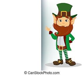 carattere, mano, ondeggiare, verde, gnomo, sorridente, cappello, cartone animato