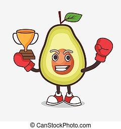 carattere, mascotte, macchina, frutta, arcata, avocado, gioco, pugilato, cartone animato, vincitore