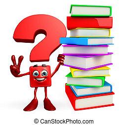 carattere, mucchio, libri, punto interrogativo