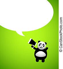 carattere, panda, cartone animato