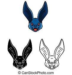 carattere, pipistrello, libro, coloritura