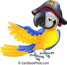 carattere, pirata, pappagallo