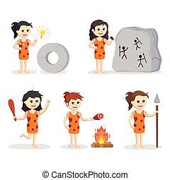carattere, progetto serie, cavewoman, illustrazione
