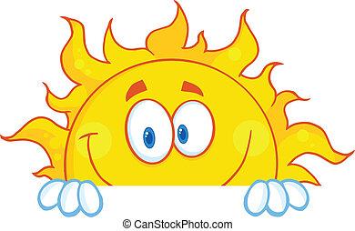 carattere, sorridente, mascotte, sole