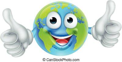 carattere, su, cartone animato, pollici, mondo, giorno terra...