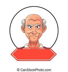 carattere, vecchio, nonno, cornice, nastro