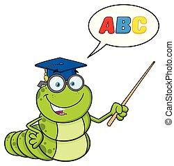 carattere, verme, gesturing, libro, cartone animato, puntatore, insegnante, occhiali