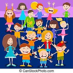 caratteri, adolescenti, bambini, folla, cartone animato