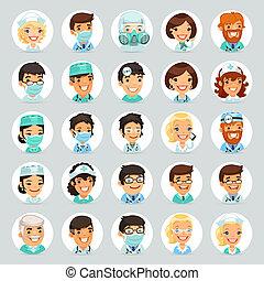 caratteri, dottori, cartone animato, set2, icone