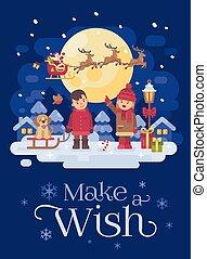 caratteri, indicare, reindeer., slitta, augurio, puppy., ragazza, bambini, inverno, due, esterno, natale, appartamento, nevoso, claus, illustrazione, santa, scheda, ragazzo, sleigh cane, gioco, night.