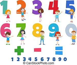 caratteri, numeri, set, felice, bambini, educativo