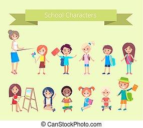caratteri, scuola, vettore, alunni, collezione