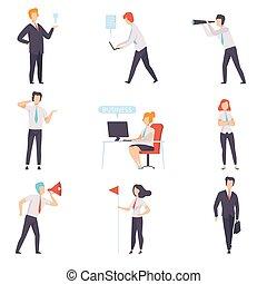 caratteri, ufficio, affari, set, donna d'affari, lavoro, illustrazione, riuscito, vettore, uomini affari, fondo, bianco