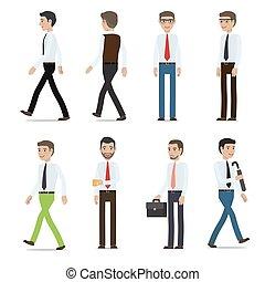 caratteri, vettore, uomini affari, collezione, cartone animato