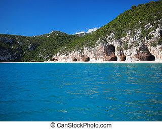caratteristica, luna, caverne, spiaggia, cala