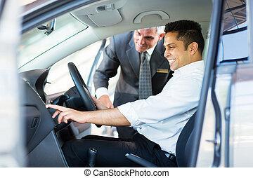 caratteristiche, controllo, automobile, indiano, sala ...