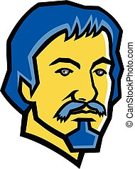 Caravaggio-HEAD-MASCOT - Mascot icon illustration of head of...