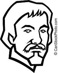 caravaggio, italiano, blanco, pintor, mascota, negro, cabeza