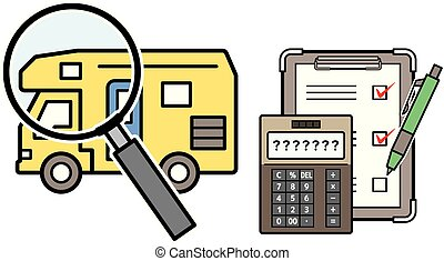 caravan and magnifying glass and electronic calculator and checklist