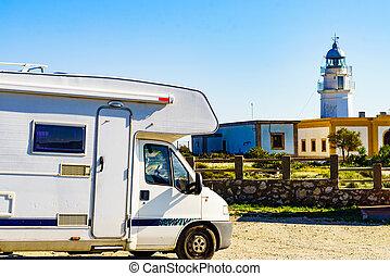 Caravan at Mesa Roldan lighthouse, Spain
