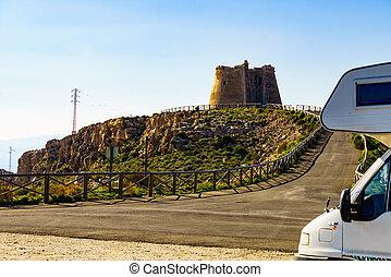 Caravan at Mesa Roldan tower, Spain