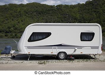 caravan at the rhine