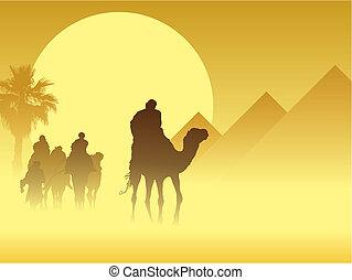 Caravan - Camel caravan going through the sandstorm near...