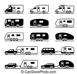 caravan, differente, campeggiatori