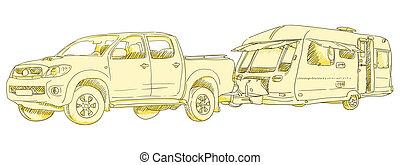 Caravan Drawing - Illustration of a car and a towing caravan...