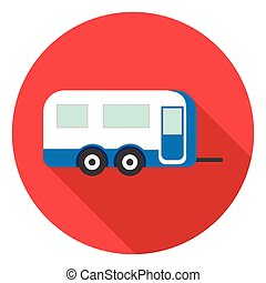 Caravan icon in flat style isolated on white background. Camping symbol stock vector illustration.
