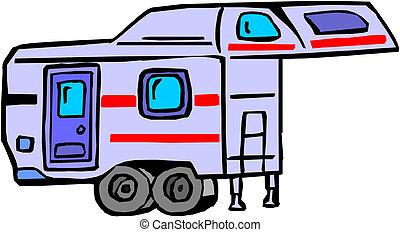 caravan, illustratie, witte
