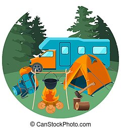 Caravan in forest with picnic equipment. Accessories for camping rest