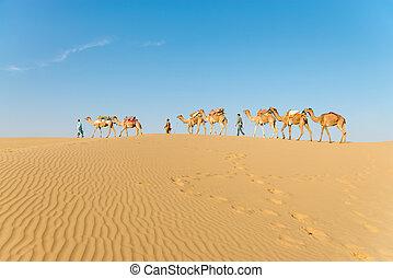 Caravan in sand desert dunes - Caravan with bedouins and ...