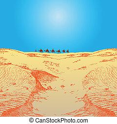 Caravan in the desert - A caravan of camels in the desert....