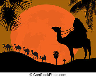 Caravan in the desert, vector illustration