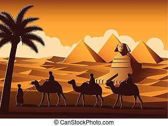 caravan of camel pass Pyramid,landmark of Egypt on sunset time,yellow color style