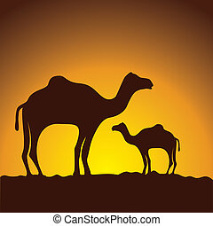 caravan of camels, vector image design