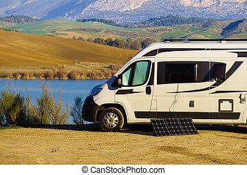 Caravan on nature, Guadalhorce in Andalusia Spain