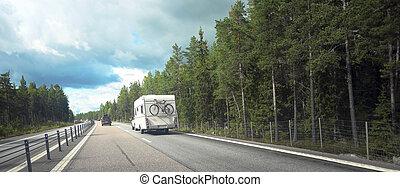 caravan, op, straat