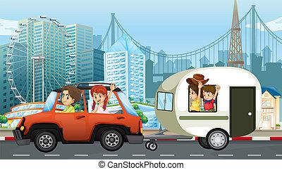 caravan, reizen, gezin