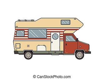 caravan., roulotte, famiglia campeggia