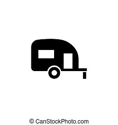 Caravan Trailer Home Flat Vector Icon