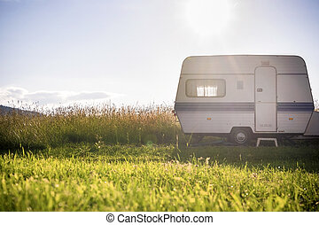 Caravan trailer on rural sunny setting - Caravan trailer on...